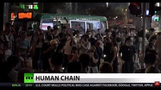 FULL SHOW: Human chain protests erupt in Hong Kong