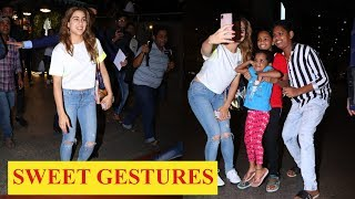 Sara Ali Khan poses with little fans at the airport as she rocks a white crop top and denim look