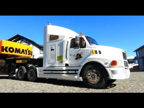 RC ADVENTURES - Ford AeroMax 1/14th 6X4 Semi Truck hauling Excavator on Trailer - UCxcjVHL-2o3D6Q9esu05a1Q