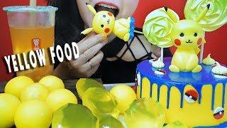 ASMR YELLOW FOOD ICE CREAM BALL DIAMOND JELLY PIKACHU FONDANT CAKE MERINGUE EATING SOUNDS| LINH-ASMR