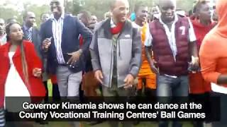 Governor Kimemia shows he can dance at the County Vocational Training Centres' Ball Games