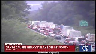 Video: Delays remain hours after tractor trailer crash on I-91 south