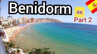 ⁴ᴷ BENIDORM walking tour 🇪🇸 Old town and Levante beach, Costa Blanca, Spain (part 2) 4K
