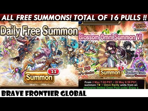ALL FREE SUMMONS! Total of 16 Pulls Rare Summons! (Brave
