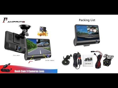 Car DVR FHD AMPrime 4'' Three Way Three Lens Video Recorder Camera 170 Wide Angle Dash Cam