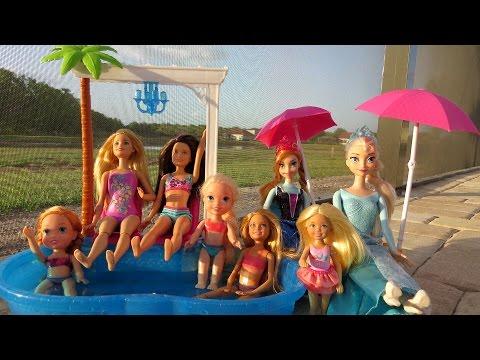 POOL Fun ! Ice Prank - Elsa & Anna toddlers - Barbie's New Car - Swimming - Splash - Water - Slide - UCQ00zWTLrgRQJUb8MHQg21A