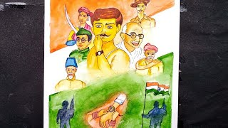 Independence day drawing by water color | 15 August painting | Republic day