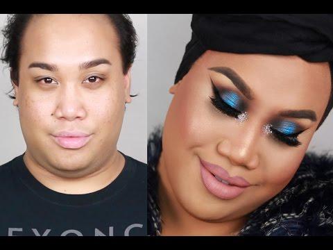 BLUE Lipstick + GLOWY Glam Cut-Crease Makeup | AudioMania lt