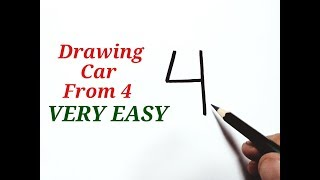 Easy drawing! How to draw a Car easy from number 4 Car drawing easy with numbers for kids beginners