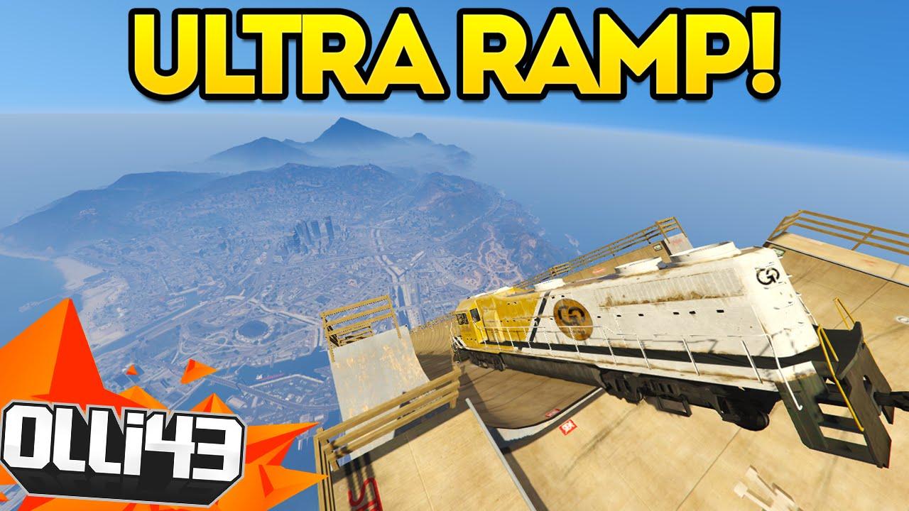 GTA 5 Ultra Mega Ramp Meets the Train! GTA 5 Mods Showcase