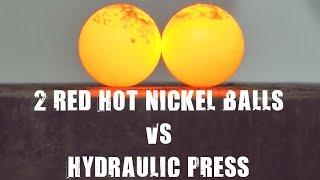燒紅的鎳球遇上強力液壓機...