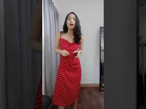 Đầm đỏ chấm bi tiếp tục về, hàng nhiều lắm