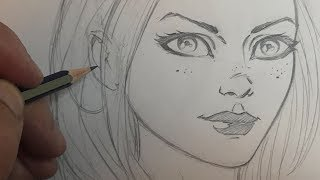 How to Draw a Pretty Girl's Face in a Comic Book Style