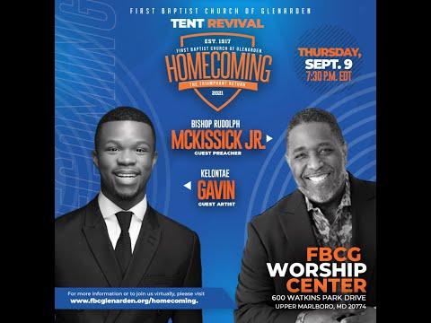 Tent Revival featured guest artist Kelontae Gavin and guest preacher Bishop Rudolph W. McKissick Jr.