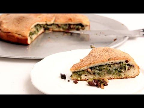 Escarole Stuffed Pizza Recipe - Laura Vitale - Laura in the Kitchen Episode 875 - UCNbngWUqL2eqRw12yAwcICg