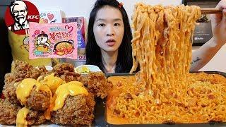 EXTRA CREAMY! Carbonara Fire Noodles & KFC Nacho Cheese Fried Chicken - Ramen Cooking Mukbang w Asmr
