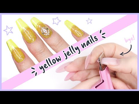 Amazing Nail Transformation ♡ From Old Polygel To Clear Yellow Jelly Nails!