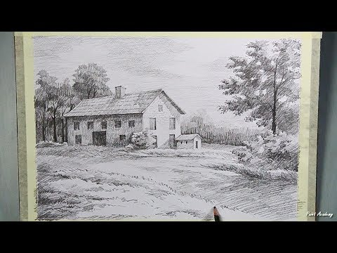 How to Draw A Beautiful House Landscape in Pencil | step by step