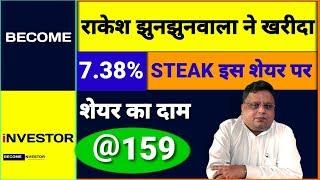 Rakesh Jhunjhunwala ने खरीदा 7.38% Stake इस शेयर पर, शेयर का दाम Rs. 159 | Multibagger Stock 🔥🔥