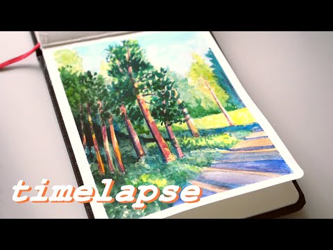 Sunset Trees - TIMELAPSE Watercolour Process