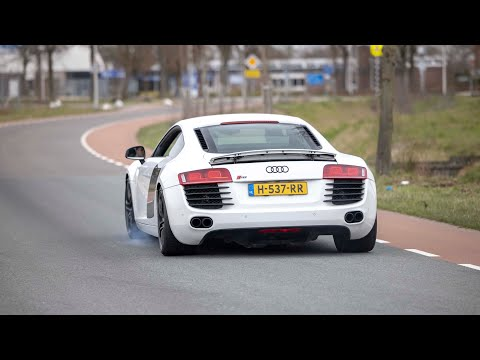 LOUD Audi R8 V8 with Capristo Exhaust - Accelerations, Launch Controls, Powerslides & Revs !