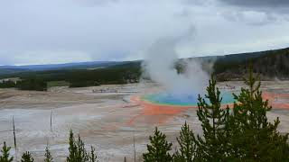 Yellowstone National Park, WY - Grand Prismatic Spring Geyser Overlook - Travel - Extended