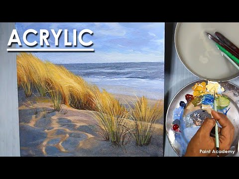 Acrylic Painting : A Beach Scene | Light bushes in white sand on the beach
