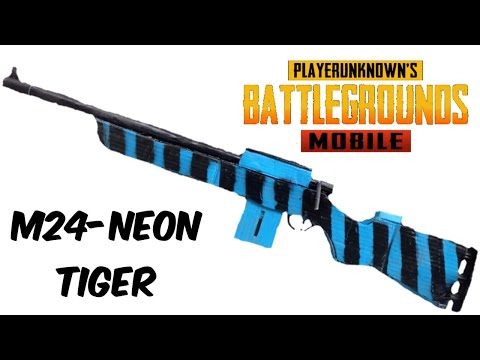 How to make Pubg Mobile M24 NEON Tiger Custom Skin From cardboard that SHOOTS