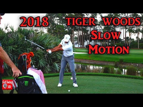 2018 TIGER WOODS SLOW MOTION FACE ON IRON GOLF SWING 1080 HD