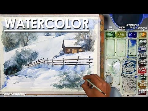 Cottage in the Snow- Watercolor Winter Scene step by step