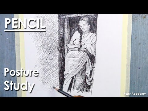 Pencil Shading techniques | Posture study | A woman dressed in a sari stands at the door
