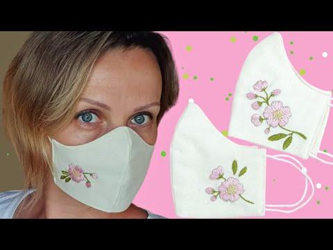 Как сделать МАСКУ С ВЫШИВКОЙ / Hand EMBROIDERY Flowers on Face Mask TUTORIAL / DIY NataliDoma