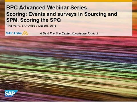 Scoring: Events and surveys in Sourcing and SPM, Scoring the SPQ