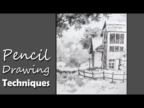 Pencil Drawing | How to Draw A House Landscape