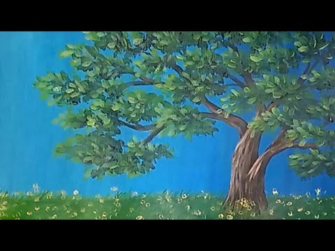 Painting a Leafy Tree with Acrylic Paint / Time-lapse Speed Painting Demo