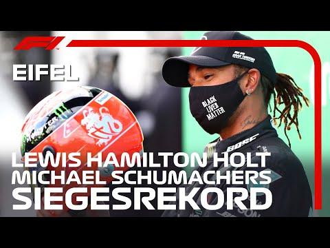 Mit seinem 91. Rennsieg holt Lewis Hamilton Michael Schumachers Rekord.