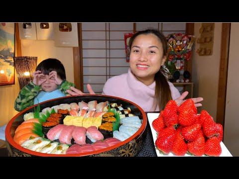 Ngon rụng lưỡi mâm Sushi hải sản 12 loại siêu to & dâu tây chấm sữa #808
