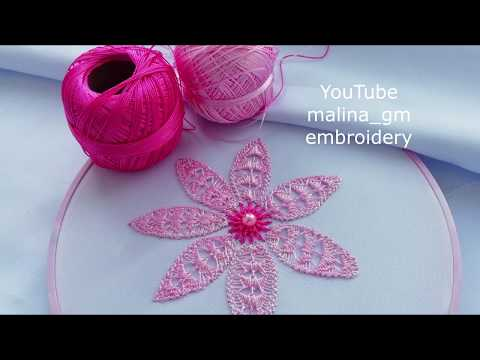 How to embroider Romanian lace on fabric #malina_gm