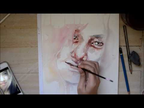 Speed Up Watercolor Portrait Painting - Angel