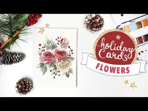 Festive Floral Card Watercolor Tutorial | 2018 Holiday Card Series