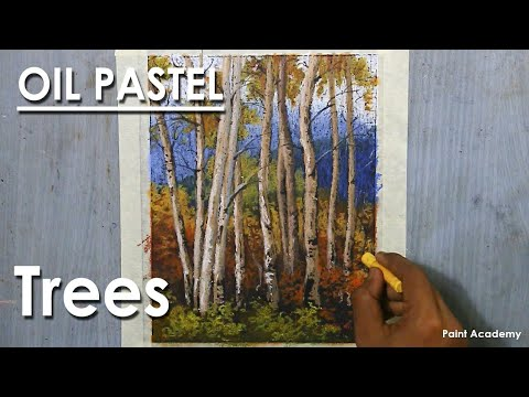 Oil Pastel Trees : A Composition on Aspen Forest