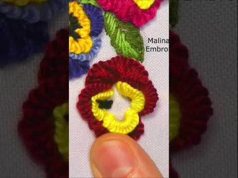 How to embroider viola flowers   Floral embroidery #shorts