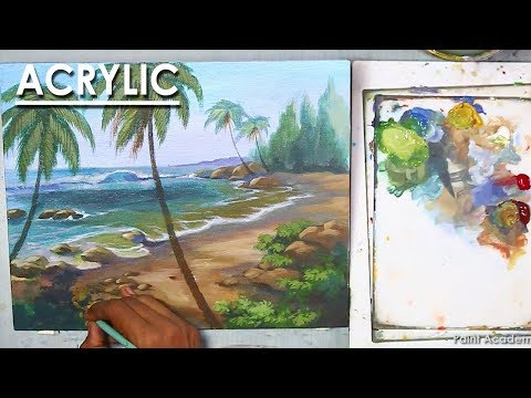 Seascape : Acrylic Painting | How to create sea waves