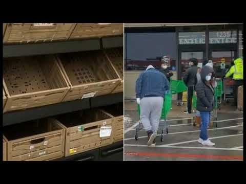 Empty Shelves & Long Lines Outside Stores As Texas Runs Out of Food Amid Deadly Cold Snap