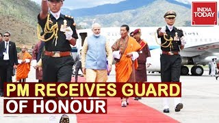 PM Modi Received Guard Of Honour In Bhutan | Live Procession