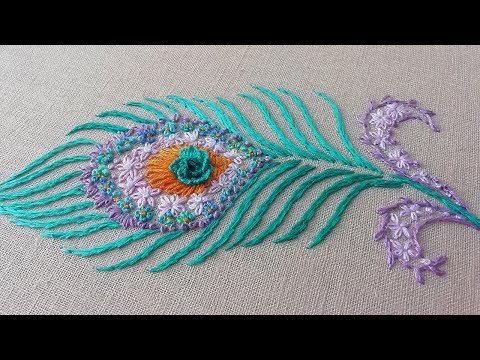 Peacock feather | Embroidery for Beginners | Amazing Floral Embroidery