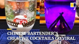 Bartender's creative cocktails storm Chinese social media