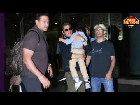 Shah Rukh Khan Runs His Way Past The Airport With Sleeping AbRam In Arms | Bollywood News