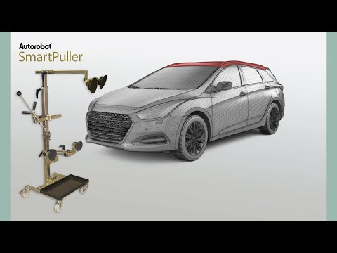 Autorobot SmartPuller - Dent pulling of vehicle roof structure