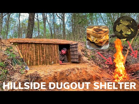Solo Overnight Building a Hillside Dug Out Shelter and Bacon and Egg Grilled Cheese Sandwich